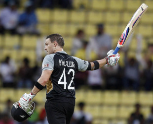 Brendon McCullum raises his bat after scoring a century, Bangladesh v New Zealand, World T20 2012, Group D, Pellekele, September 21, 2012