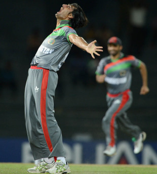 Shapoor Zadran reacts after taking the wicket of Craig Kieswetter, Afghanistan v England, World Twenty20 2012, Group A, Colombo, September 21, 2012