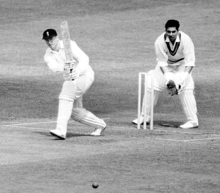 A rare attacking shot from Geoff Boycott as he crawled to 246 in almost ten hours, England v India, 1st Test, Headingley, June 8, 1967