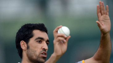 Umar Gul gestures during a training session