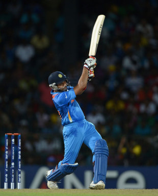 Rohit Sharma hits out during his unbeaten 55, England v India, World Twenty20, Group A, Colombo