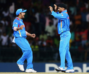 Harbhajan Singh celebrates one of his four wickets, England v India, World Twenty20, Group A, Colombo