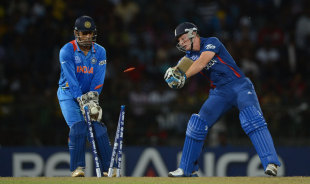 Jos Buttler is bowled as India's spinners ran riot, England v India, World Twenty20, Group A, Colombo