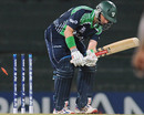 William Porterfield is bowled off the first ball of the match, Ireland v West Indies, World Twenty20 2012, Group B, Colombo, September 24, 2012