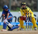 Harmanpreet Kaur plays a sweep, Australia v India, Women's World T20 2012, Group A, Galle, September 27, 2012