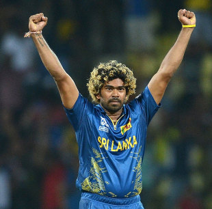 Lasith Malinga celebrates after stifling New Zealand in the Super Over, Sri Lanka v New Zealand, World T20 2012, Super Eights, Pallekele, September 27, 2012