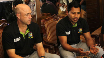 Mushfiqur Rahim and Richard Pybus speak to reporters on arrival