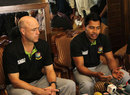 Mushfiqur Rahim and Richard Pybus speak to reporters on arrival, Dhaka, September 27, 2012
