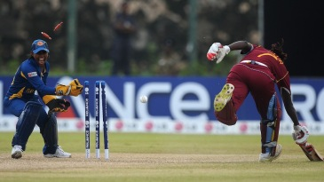 Dilani Manodara runs out Stafanie Taylor