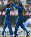 Akila Dananjaya celebrates his first wicket with Mahela Jayawardene, Sri Lanka v New Zealand, World T20 2012, Super Eights, Pallekele, September 27, 2012