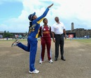 Dilani Manodara and Merissa Aguilleira at the toss