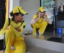 Meg Lanning and Lisa Sthalekar of Australia watch the final few minutes of the Sydney Swans v Hawthorn, AFL Grand Final, Australia v Pakistan, Women's World T20, Group A, Galle, September 29, 2012