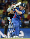 Eoin Morgan goes for a forceful drive, England v New Zealand, World Twenty20, Super Eights, Pallekele, September 29, 2012