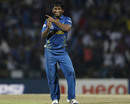 Jeevan Mendis celebrates with a dance after dismissing Dwayne Bravo