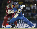 Mahela Jayawardene attempts an unorthodox shot, Sri Lanka v West Indies, Super Eights, World Twenty20 2012, Pallekele, September 29, 2012