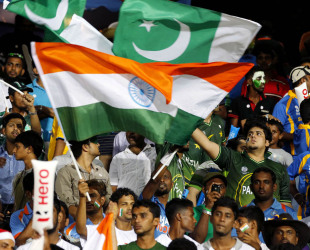 Crowds with the India and Pakistan flags before the India-Pakistan game in Colombo, India v Pakistan, Super Eights, World Twenty20, Colombo, September 30, 2012