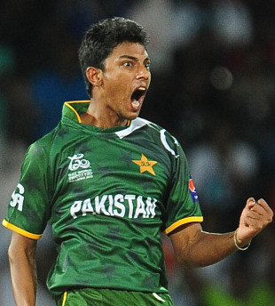 Raza Hasan reacts after taking a wicket off his first over, India v Pakistan, Super Eights, World Twenty20, Colombo, September 30, 2012