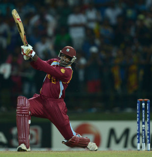 Chris Gayle launched a six off the first ball of the Super Over, New Zealand v West Indies, Super Eights, World Twenty20 2012, Pallekele, October 1, 2012