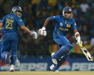Mahela Jayawardene and Tillakaratne Dilshan run between the wickets, Sri Lanka v England, Super Eights, World Twenty20, Pallekele, October 1, 2012