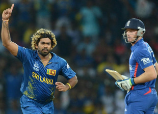 Lasith Malinga celebrates Jos Butler's wicket, Sri Lanka v England, Super Eights, World Twenty20, Pallekele, October 1, 2012