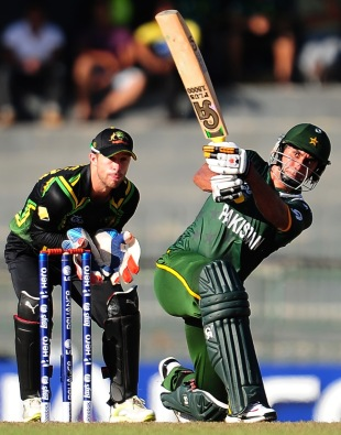 Nasir Jamshed smashes one for a six, Australia v Pakistan, Super Eights, World Twenty20 2012, Colombo, October 2, 2012