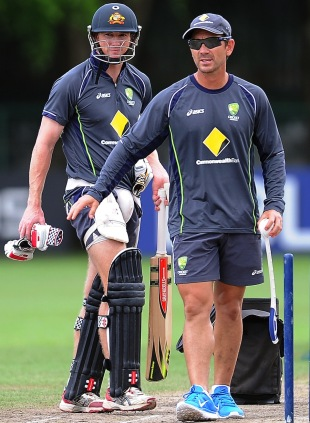 George Bailey and Justin Langer during practice, World Twenty20, Colombo, October 4, 2012