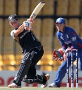 Sohpie Devine hits out towards mid-wicket, England v New Zealand, 1st semi-final, Women's World T20, Colombo, October 4, 2012