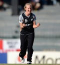 Sian Ruck is pumped after picking up a wicket, England v New Zealand, 1st semi-final, Women's World T20, Colombo, October 4, 2012