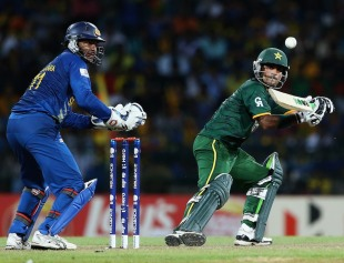 Mohammad Hafeez steers towards third man, Sri Lanka v Pakistan, 1st semi-final, World Twenty20, Colombo, October 4, 2012