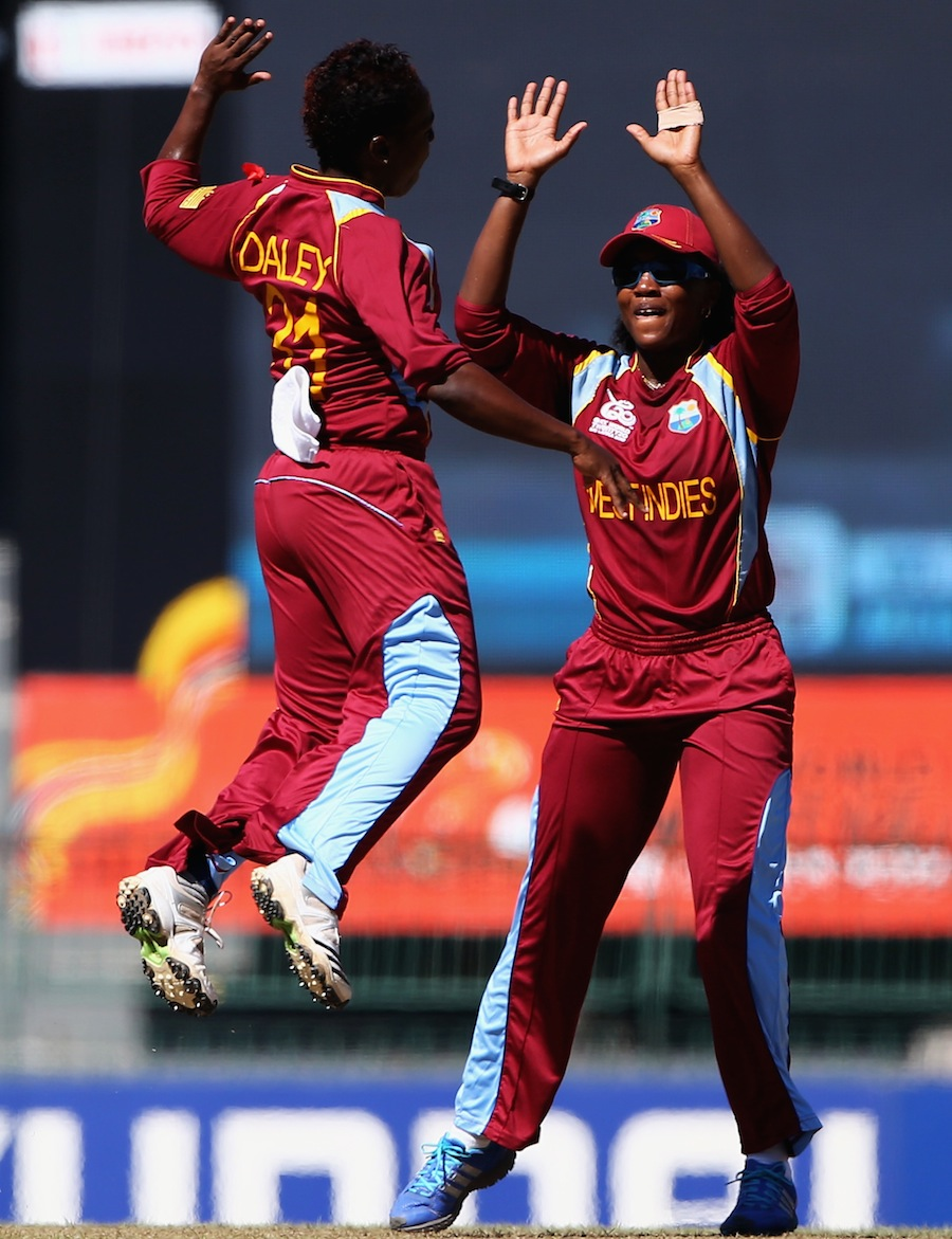 Shanel Daley jumps with joy after picking a wicket