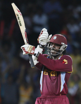 Chris Gayle celebrates his fifty, Australia v West Indies, 2nd semi-final, World Twenty20 2012, Colombo, October 5, 2012