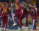 The West Indies team dances to celebrate victory over Australia