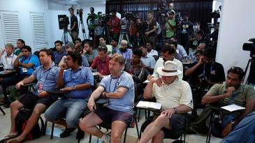 The media at the pre-match press conference in Colombo