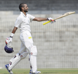 Shikhar Dhawan celebrates a century on the first day, North Zone v West Zone, Duleep Trophy, 1st day, Chennai, October 6, 2012