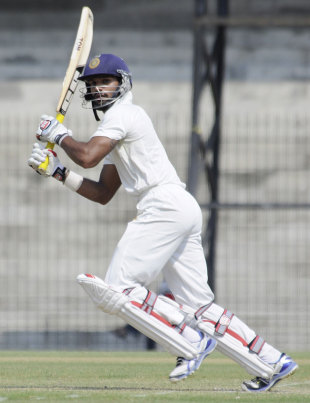 Shikhar Dhawan plays one through the off side, North Zone v West Zone, Duleep Trophy, 1st day, Chennai, October 6, 2012