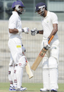 Shikhar Dhawan and Rahul Dewan celebrate as their partnership reached the 100-run mark, North Zone v West Zone, quarter-final, Duleep Trophy, 1st day, Chennai, October 6, 2012