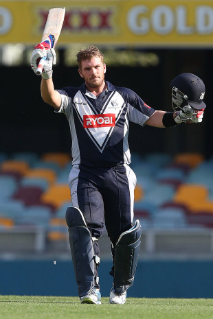 Aaron Finch blasted 154 for Victoria, Queensland v Victoria, Ryobi One-Day Cup, Brisbane, October 7, 2012