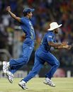 Nuwan Kulasekara and Lasith Malinga celebrate Johnson Charles' wicket