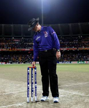 Simon Taufel gets a feel of the bails in his final international game, Sri Lanka v West Indies, final, World Twenty20, Colombo, October 7, 2012