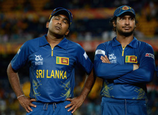 A dejected Mahela Jayawardene with Kumar Sangakkara, Sri Lanka v West Indies, final, World Twenty20, Colombo, October 7, 2012