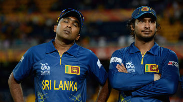 A dejected Mahela Jayawardene with Kumar Sangakkara