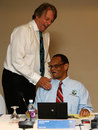 ECB chairman Giles Clarke shares a light moment with WICB president Julian Hunte, Colombo, October 9, 2012