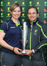 Jess Cameron and Jodie Fields with the Women's World T20 trophy, Melbourne, October 9, 2012
