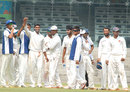 West Zone players celebrate Kamlesh Makvana's match haul of 10, North Zone v West Zone, quarter-final, Duleep Trophy, 4th day, Chennai, October 9, 2012