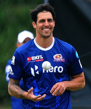 Mitchell Johnson during practice for the Mumbai Indians, Champions League T20, Johannesburg, October 10, 2012