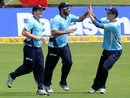 Andre Adams celebrates after catching Shahid Afridi, Auckland Aces v Hampshire, Champions League T20, Centurion, October 10, 2012