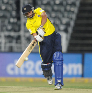 Shahid Afridi made 14 before holing out, Hampshire v Sialkot Stallions, Champions League T20, Johannesburg, October 11, 2012