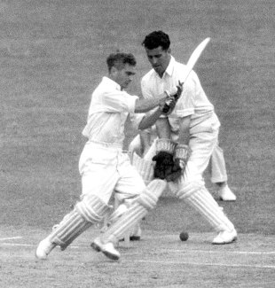Tony Pawson goes for a pull, Kent v Middlesex, August 10, 1950