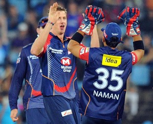 Morne Morkel celebrates a wicket with his team-mates, Kolkata Knight Riders v Delhi Daredevils, Group A, Champions League Twenty20, Centurion, October 13, 2012