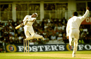Alec Stewart avoids a bouncer from Wasim Akram, England v West Indies, 3rd Test, The Oval, 5th day, August 26, 1996